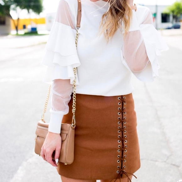 Chicwish Dresses & Skirts - New lace up cognac skirt